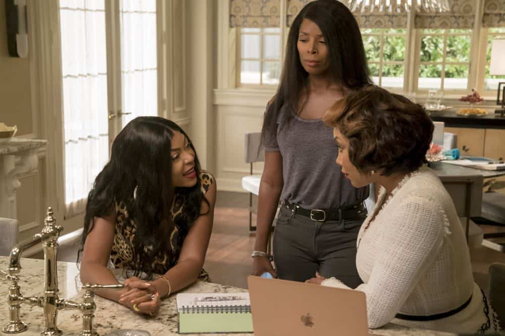 "EMPIRE: L-R: Taraji P. Henson, guest stars Tasha Smith and Vivica A. Fox in the ""Pride"" episode of EMPIRE airing Wednesday, Oct. 10 (8:00-9:00 PM ET/PT) on FOX. @2018 Fox Broadcasting Co. CR: Chuck Hodes/FOX."