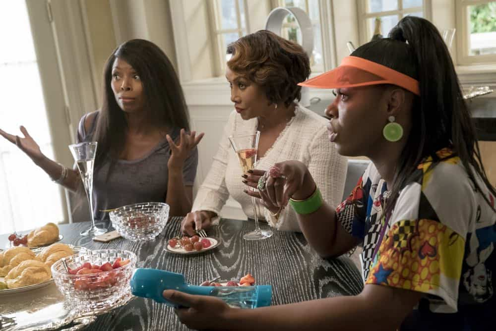 "EMPIRE: L-R: Guest stars Tasha Smith and Vivica A. Fox in the ""Pride"" episode of EMPIRE airing Wednesday, Oct. 10 (8:00-9:00 PM ET/PT) on FOX. @2018 Fox Broadcasting Co. CR: Chuck Hodes/FOX."