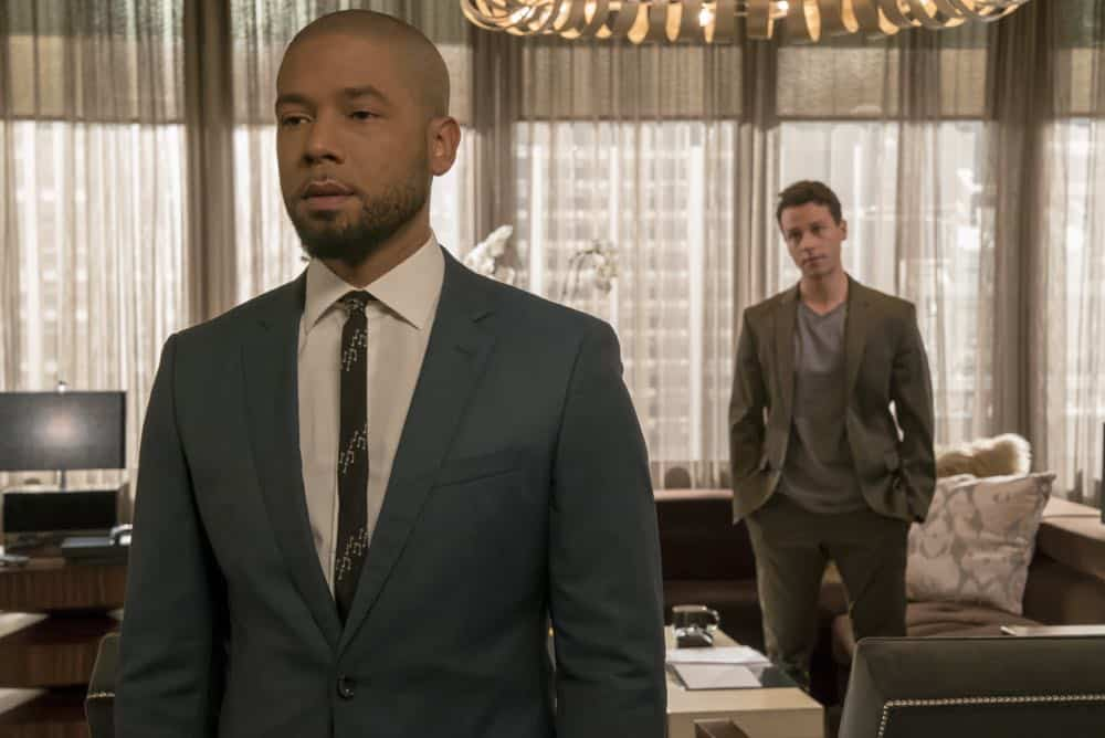"EMPIRE: L-R: Jussie Smollett and A.Z. Kelsey in the ""Pride"" episode of EMPIRE airing Wednesday, Oct. 10 (8:00-9:00 PM ET/PT) on FOX. @2018 Fox Broadcasting Co. CR: Chuck Hodes/FOX."