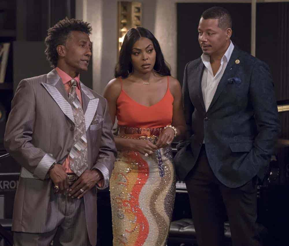 "EMPIRE: L-R: Andre Royo, Taraji P. Henson and Terrence Howard in the ""Pride"" episode of EMPIRE airing Wednesday, Oct. 10 (8:00-9:00 PM ET/PT) on FOX. @2018 Fox Broadcasting Co. CR: Chuck Hodes/FOX."