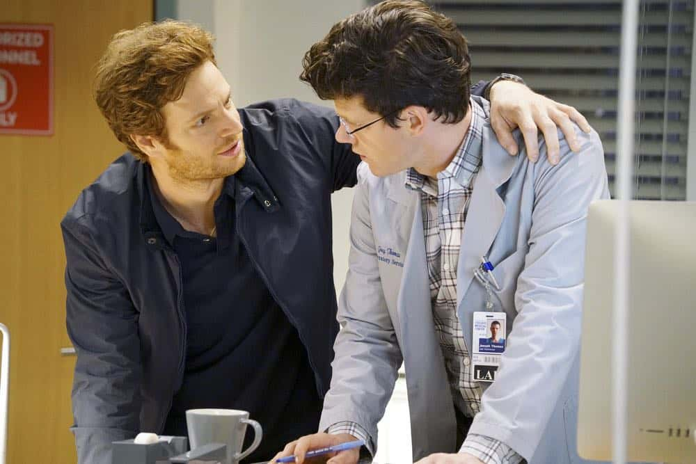 "CHICAGO MED -- ""Heavy Is The Head"" Episode 403 -- Pictured: (l-r) Nick Gehlfuss as Will Halstead, Peter Mark Kendall as Joey Thomas -- (Photo by: Elizabeth Sisson/NBC)"