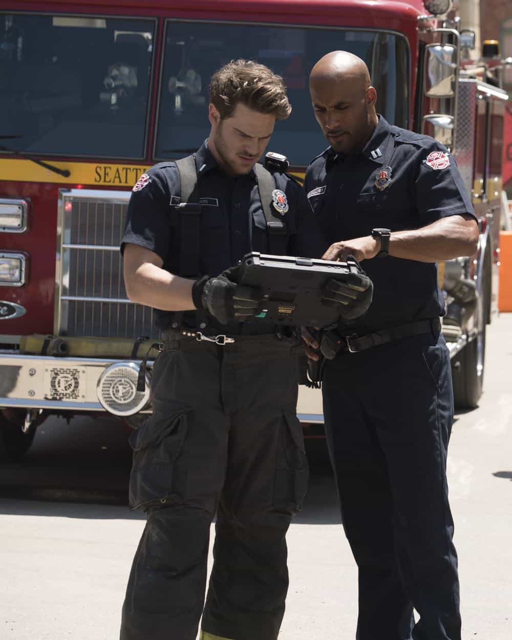 "STATION 19 - ""Under The Surface"" - It's a life-and-death situation when a young boy falls into water pipes beneath the city of Seattle. With the clock ticking, the firefighters of Station 19 jump into action to save his life, on ABC's ""Station 19,"" THURSDAY, OCT. 11 (9:01-10:00 p.m. EDT), on The ABC Television Network. (ABC/Eric McCandless) GREY DAMON, BORIS KODJOE"