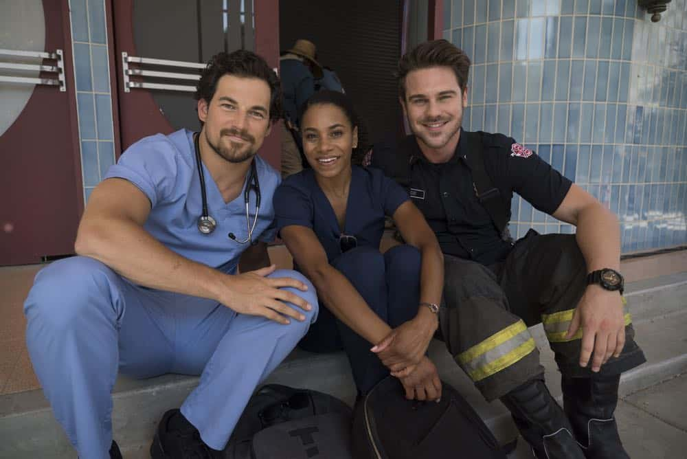 "STATION 19 - ""Under The Surface"" - It's a life-and-death situation when a young boy falls into water pipes beneath the city of Seattle. With the clock ticking, the firefighters of Station 19 jump into action to save his life, on ABC's ""Station 19,"" THURSDAY, OCT. 11 (9:01-10:00 p.m. EDT), on The ABC Television Network. (ABC/Eric McCandless) GIACOMO GIANNIOTTI, KELLY MCCREARY, GREY DAMON"
