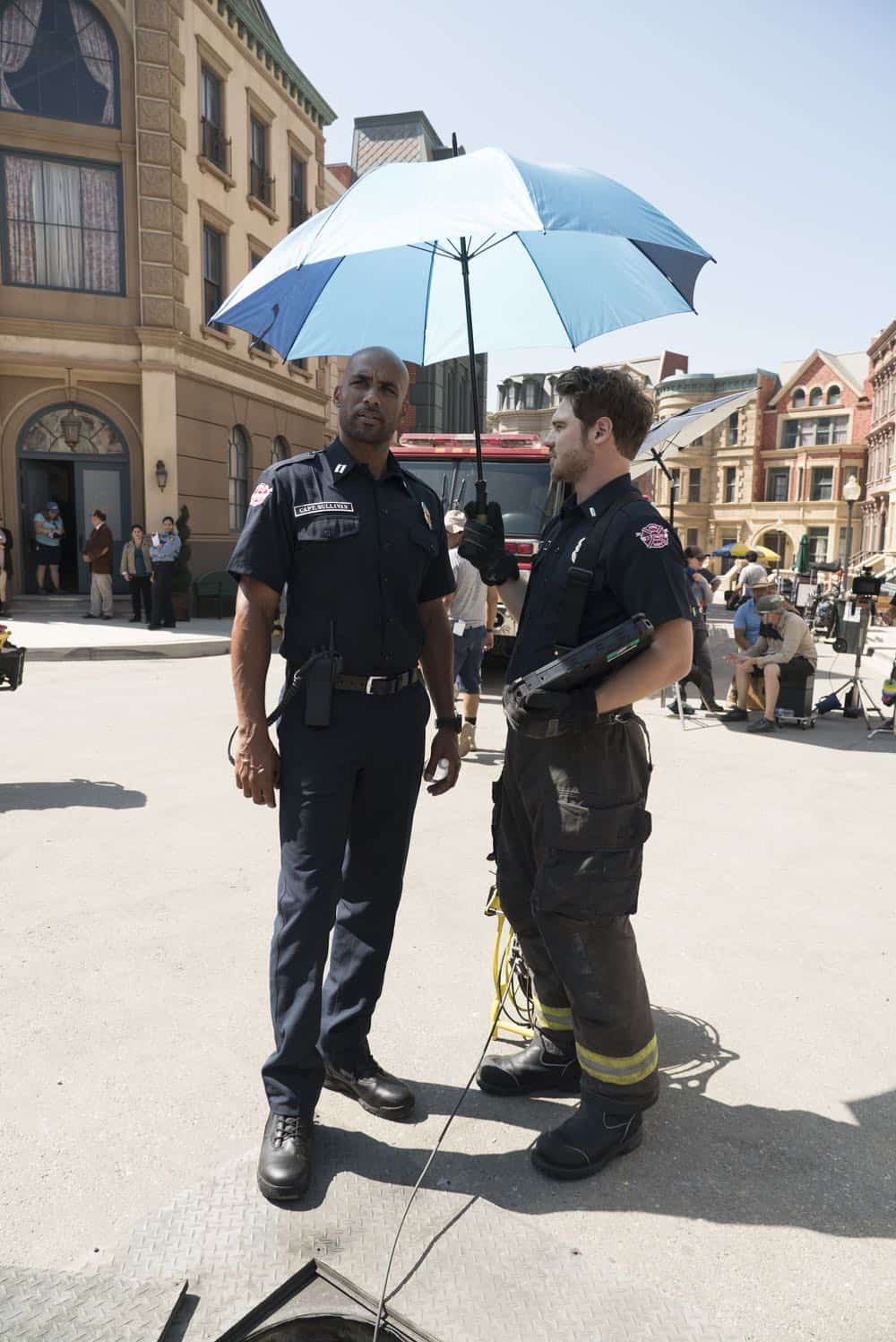 "STATION 19 - ""Under The Surface"" - It's a life-and-death situation when a young boy falls into water pipes beneath the city of Seattle. With the clock ticking, the firefighters of Station 19 jump into action to save his life, on ABC's ""Station 19,"" THURSDAY, OCT. 11 (9:01-10:00 p.m. EDT), on The ABC Television Network. (ABC/Eric McCandless) BORIS KODJOE, GREY DAMON"