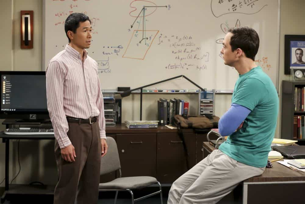 """The Tam Turbulence"" -- Pictured: Tam (Robert Wu) and Sheldon Cooper (Jim Parsons). When Sheldon won't tell anyone why he's never mentioned Tam (Robert Wu), his childhood best friend, Leonard takes matters into his own hands. Also, Bernadette and Penny take out Raj's fiancée, Anu (Rati Gupta), for dinner to get the skinny on her, on THE BIG BANG THEORY, Thursday, Oct. 11 (8:00-8:31 PM, ET/PT) on the CBS Television Network. Jerry O'Connell returns as Sheldon's brother, George. Photo: Michael Yarish/CBS ©2018 CBS Broadcasting, Inc. All Rights Reserved."