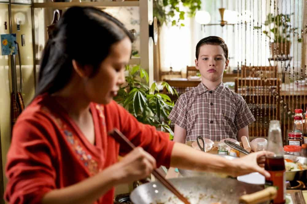 """A Financial Secret and Fish Sauce"" - Pictured: Sheldon (Iain Armitage). When George Sr. asks Sheldon to keep a secret from Mary, the stress of not being honest drives Sheldon to hideout at Tam's for his first sleepover, on YOUNG SHELDON, Thursday, Oct. 11 (8:31-9:01 PM, ET/PT) on the CBS Television Network. Photo: Robert Voets/Warner Bros. Entertainment Inc. © 2018 WBEI. All rights reserved."