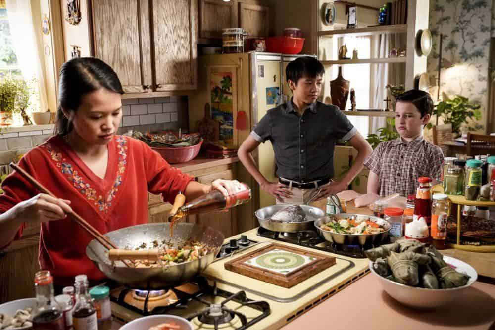 """A Financial Secret and Fish Sauce"" - Pictured: Tam (Ryan Phuong) and Sheldon (Iain Armitage). When George Sr. asks Sheldon to keep a secret from Mary, the stress of not being honest drives Sheldon to hideout at Tam's for his first sleepover, on YOUNG SHELDON, Thursday, Oct. 11 (8:31-9:01 PM, ET/PT) on the CBS Television Network. Photo: Robert Voets/Warner Bros. Entertainment Inc. © 2018 WBEI. All rights reserved."