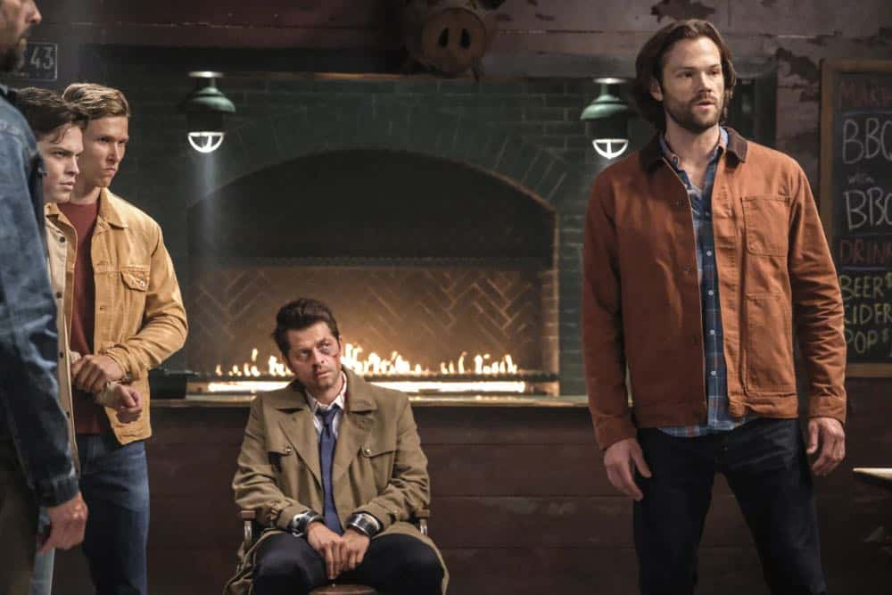 "Supernatural -- ""Stranger in a Strange Land"" -- Image Number: SN1401b_0111b.jpg -- Pictured (L-R): Alexander Calvert as Jack, Misha Collins as Castiel and Jared Padalecki as Sam -- Photo: Bettina Strauss/The CW -- © 2018 The CW Network, LLC All Rights Reserved"