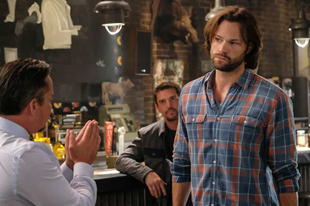 "Supernatural -- ""Stranger in a Strange Land"" -- Image Number: SN1401b_0293b.jpg -- Pictured (L-R): Dean Armstrong as Kip and Jared Padalecki as Sam -- Photo: Bettina Strauss/The CW -- © 2018 The CW Network, LLC All Rights Reserved"