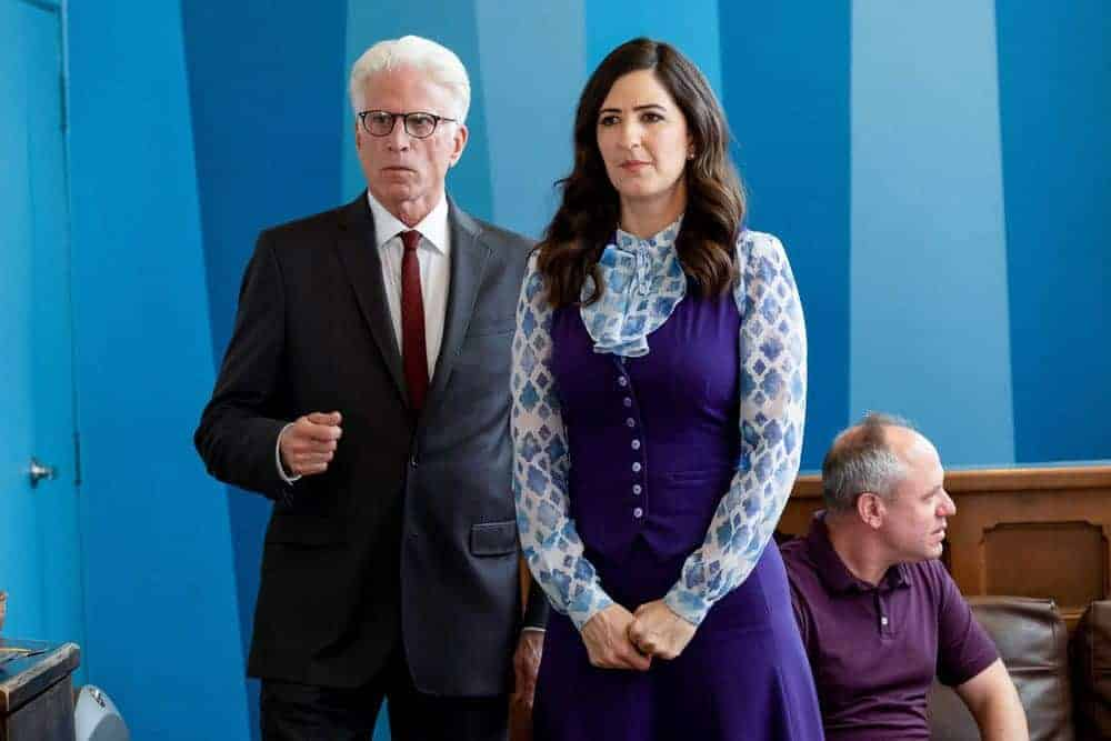 "THE GOOD PLACE -- ""The Snowplow"" Episode 304 -- Pictured: (l-r) Ted Danson as Michael, D'Arcy Carden as Janet -- (Photo by: Colleen Hayes/NBC)"