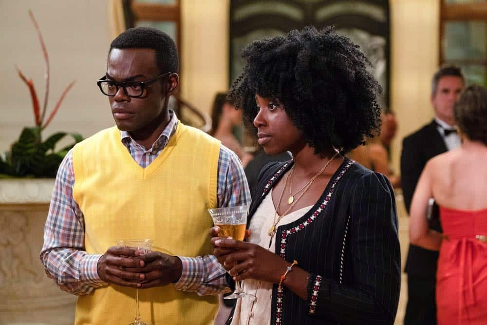 "THE GOOD PLACE -- ""The Snowplow"" Episode 304 -- Pictured: (l-r) William Jackson Harper as Chidi, Kirby Howell-Baptiste as Simone Garnett -- (Photo by: Colleen Hayes/NBC)"