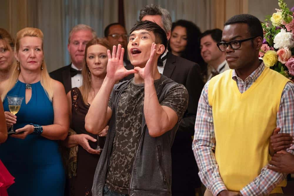 "THE GOOD PLACE -- ""The Snowplow"" Episode 304 -- Pictured: (l-r) Manny Jacinto as Jason Mendoza, William Jackson Harper as Chidi -- (Photo by: Colleen Hayes/NBC)"
