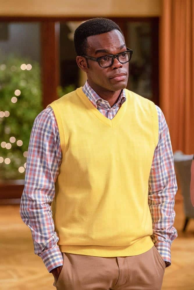"THE GOOD PLACE -- ""The Snowplow"" Episode 304 -- Pictured: William Jackson Harper as Chidi-- (Photo by: Colleen Hayes/NBC)"
