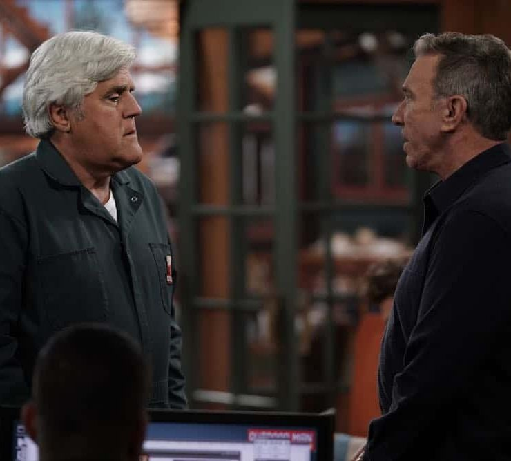 """LAST MAN STANDING: L-R: Guest star Jay Leno and Tim Allen in the """"Giving Mike The Business"""" episode of LAST MAN STANDING airing Friday, Oct. 12 (8:00-8:30 PM ET/PT) on FOX. © 2018 FOX Broadcasting. CR: Michael Becker / FOX."""