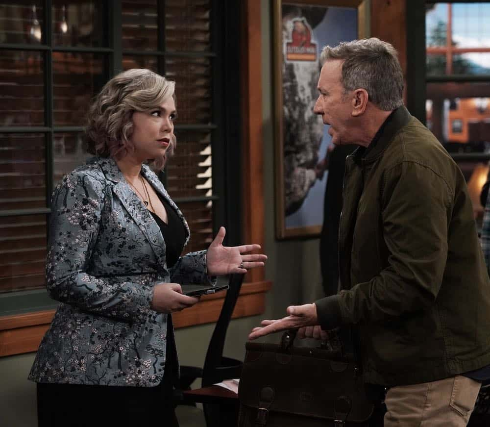 "LAST MAN STANDING: L-R: Amanda Fuller and Tim Allen in the ""Giving Mike The Business"" episode of LAST MAN STANDING airing Friday, Oct. 12 (8:00-8:30 PM ET/PT) on FOX. © 2018 FOX Broadcasting. CR: Michael Becker / FOX."