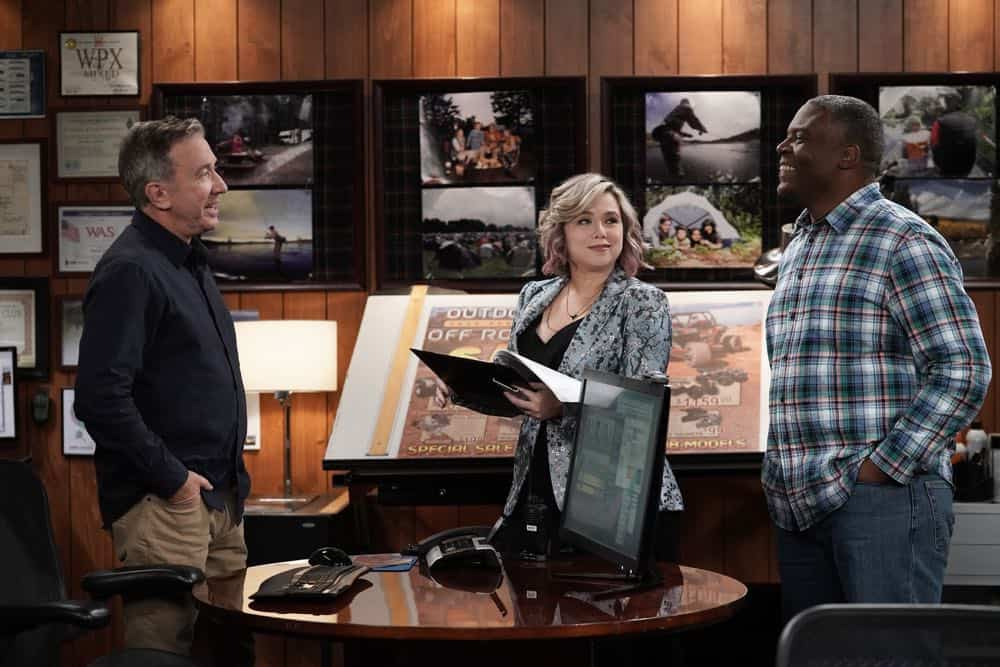 "LAST MAN STANDING: L-R: Tim Allen, Amanda Fuller and Jonathan Adams in the ""Giving Mike The Business"" episode of LAST MAN STANDING airing Friday, Oct. 12 (8:00-8:30 PM ET/PT) on FOX. © 2018 FOX Broadcasting. CR: Michael Becker / FOX."