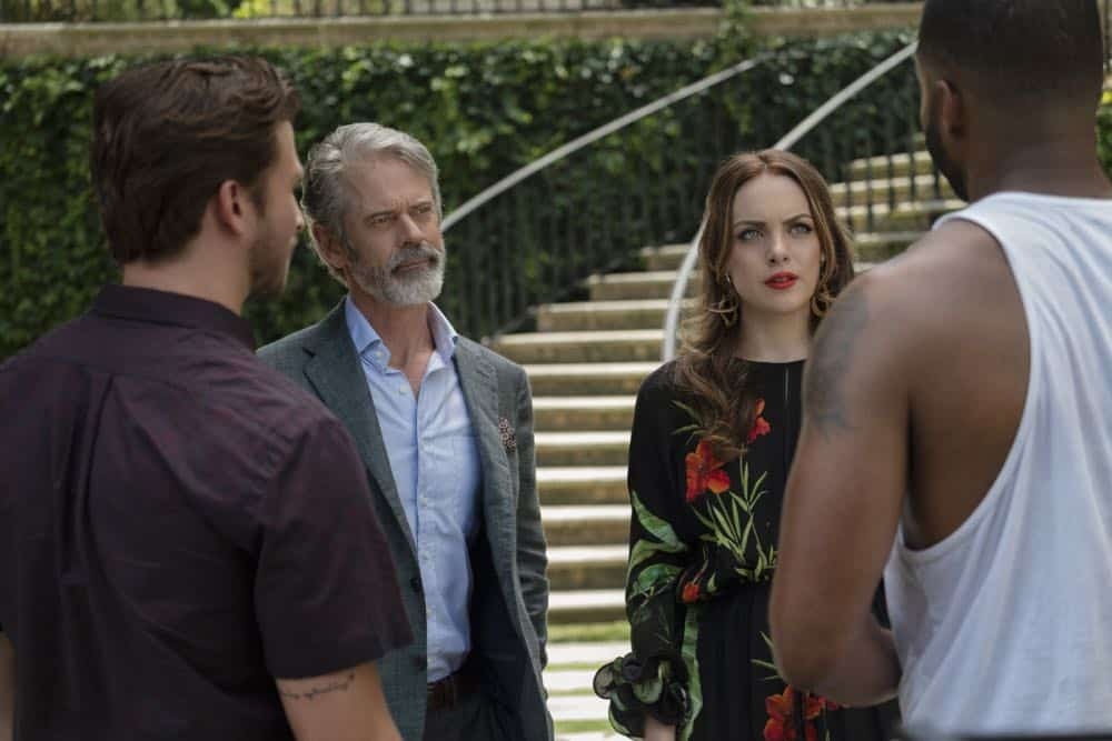 """Dynasty -- """"Twenty-Three Skidoo""""-- Image Number: DYN201a_0170b.jpg -- Pictured (L-R): Adam Huber as Liam, C. Thomas Howell as Max Van Kirk, Elizabeth Gillies as Fallon and Robert Christopher Riley as Culhane -- Photo: Wilford Harewood/The CW -- © 2018 The CW Network, LLC. All Rights Reserved"""