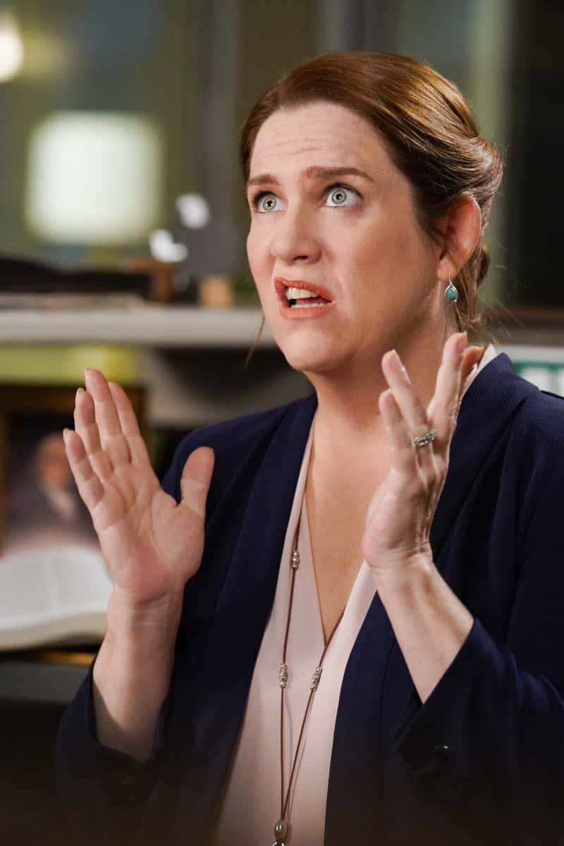 "Crazy Ex Girlfriend -- ""I Want To Be Here"" -- Image Number: CEG401b_0422.jpg -- Pictured: Donna Lynne Champlin as Paula -- Photo: Robert Voets/The CW -- © 2018 The CW Network, LLC All Rights Reserved."