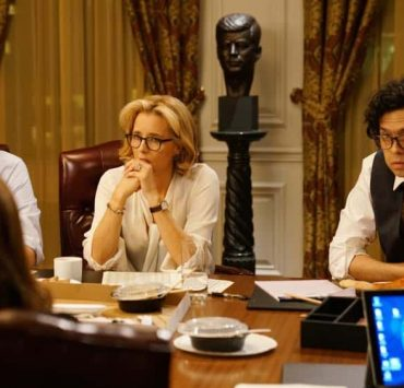 """""""The Chaos Game"""" -- When Elizabeth discovers that the White House attackers had support from overseas, she tries to hunt down those responsible without starting a war. Also, Henry comes face to face with one of the attackers, on MADAM SECRETARY, Sunday, Oct. 14 (10:30-11:30 PM, ET/10:00-11:00 PM, PT) on the CBS Television Network. Pictured (L-R) Sebastian Arcelus as Jay Whitman, Téa Leoni as Elizabeth McCord and Geoffrey Arend as Matt Mahoney. Photo: Sarah Shatz/CBS©2018 CBS Broadcasting, Inc. All Rights Reserved"""