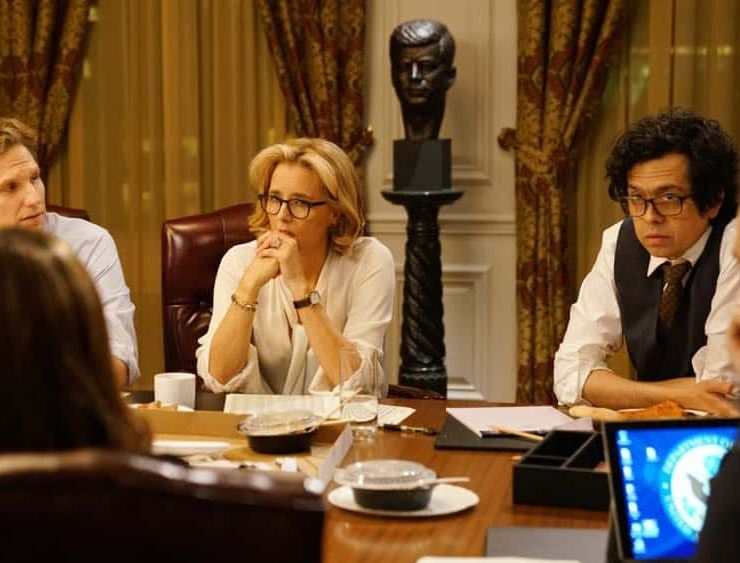 """The Chaos Game"" -- When Elizabeth discovers that the White House attackers had support from overseas, she tries to hunt down those responsible without starting a war. Also, Henry comes face to face with one of the attackers, on MADAM SECRETARY, Sunday, Oct. 14 (10:30-11:30 PM, ET/10:00-11:00 PM, PT) on the CBS Television Network. Pictured (L-R) Sebastian Arcelus as Jay Whitman, Téa Leoni as Elizabeth McCord and Geoffrey Arend as Matt Mahoney. Photo: Sarah Shatz/CBS©2018 CBS Broadcasting, Inc. All Rights Reserved"