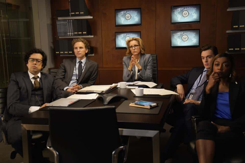 """The Chaos Game"" -- When Elizabeth discovers that the White House attackers had support from overseas, she tries to hunt down those responsible without starting a war. Also, Henry comes face to face with one of the attackers, on MADAM SECRETARY, Sunday, Oct. 14 (10:30-11:30 PM, ET/10:00-11:00 PM, PT) on the CBS Television Network. Pictured (L-R) Geoffrey Arend as Matt Mahone, Sebastian Arcelus as Jay Whitman, Téa Leoni as Elizabeth McCord, Erich Bergen as Blake Moran and Patina Miller as Daisy Grant. Photo: Sarah Shatz/CBS©2018 CBS Broadcasting, Inc. All Rights Reserved"