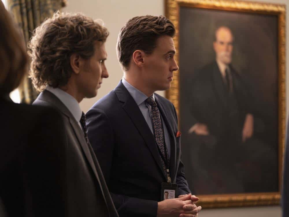 """The Chaos Game"" -- When Elizabeth discovers that the White House attackers had support from overseas, she tries to hunt down those responsible without starting a war. Also, Henry comes face to face with one of the attackers, on MADAM SECRETARY, Sunday, Oct. 14 (10:30-11:30 PM, ET/10:00-11:00 PM, PT) on the CBS Television Network. Pictured (L-R) Sebastian Arcelus as Jay Whitman and Erich Bergen as Blake Moran. Photo: Sarah Shatz/CBS©2018 CBS Broadcasting, Inc. All Rights Reserved"