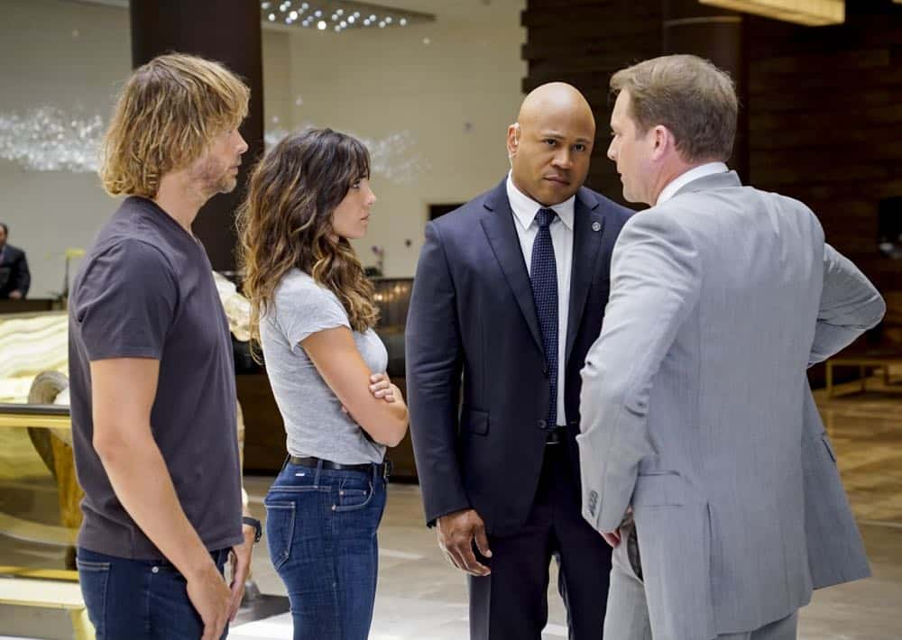 """The Prince"" -- Pictured: Eric Christian Olsen (LAPD Liaison Marty Deeks), Daniela Ruah (Special Agent Kensi Blye), LL COOL J (Special Agent Sam Hanna) and Drew Waters (DSS Agent Brian Bush). Callen and Sam are assigned protection duty for Deputy Crown Prince Kamal (Ritesh Rajan) after an unknown assassin targets his decoy upon his arrival in Los Angeles, on NCIS: LOS ANGELES, Sunday, Oct. 14 (9:30-10:30 PM, ET/9:00-10:00 PM, PT) on the CBS Television Network. Photo: Monty Brinton/CBS ©2018 CBS Broadcasting, Inc. All Rights Reserved."