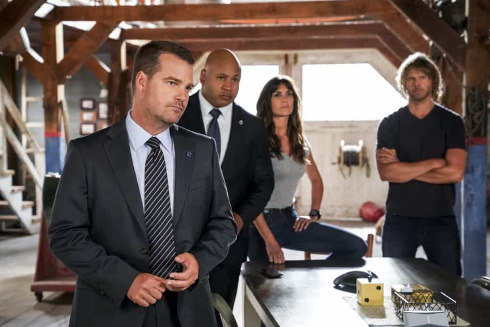 """The Prince"" -- Pictured: Chris O'Donnell (Special Agent G. Callen), LL COOL J (Special Agent Sam Hanna), Daniela Ruah (Special Agent Kensi Blye) and Eric Christian Olsen (LAPD Liaison Marty Deeks). Callen and Sam are assigned protection duty for Deputy Crown Prince Kamal (Ritesh Rajan) after an unknown assassin targets his decoy upon his arrival in Los Angeles, on NCIS: LOS ANGELES, Sunday, Oct. 14 (9:30-10:30 PM, ET/9:00-10:00 PM, PT) on the CBS Television Network. Photo: Monty Brinton/CBS ©2018 CBS Broadcasting, Inc. All Rights Reserved."