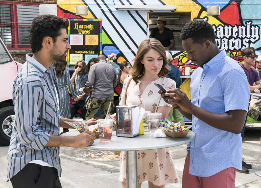 """Heavenly Taco Truck"" -- Miles' wallet is stolen when he, Rakesh and Cara check out a food truck the God Account suggests that he ""like."" But when the account then suggests that he befriend a private investigator, Miles decides to turn the tables and have the PI help him track down the thief, who Miles believes is linked to the account, on GOD FRIENDED ME, Sunday, Oct. 14 (8:30-9:30 PM, ET/8:00-9:00 PM, PT) on the CBS Television Network. Pictured L to R: Suraj Sharma as Rakesh Singh, Violett Beane as Cara Bloom and   Brandon Micheal Hall as Miles Finer. Credit:  Barbara Nitke/©2018 Warner Bros. Entertainment Inc.  All Rights Reserved."