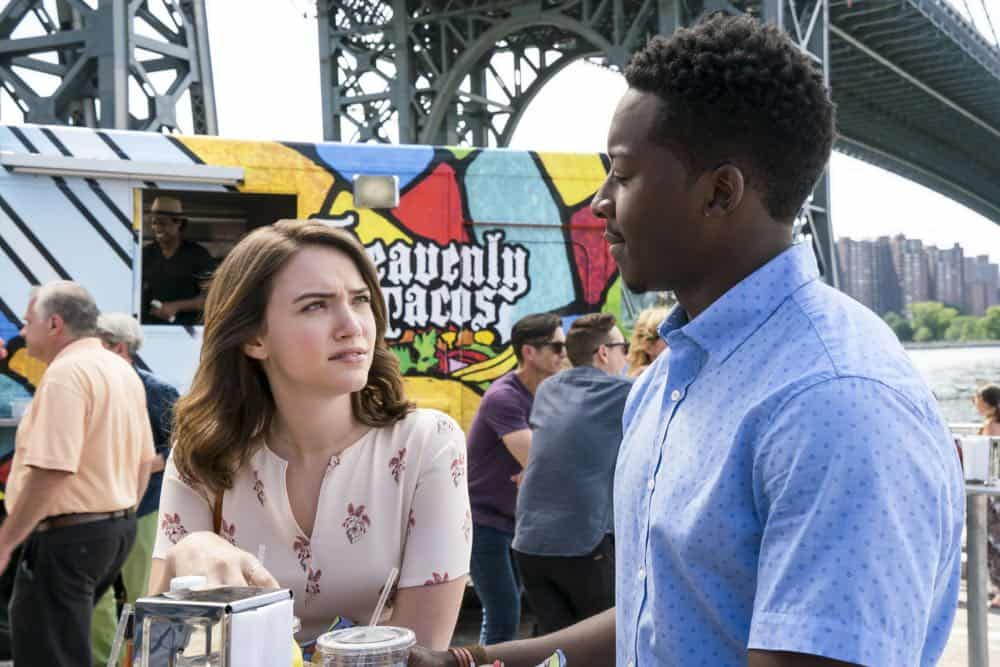 """Heavenly Taco Truck"" -- Miles' wallet is stolen when he, Rakesh and Cara check out a food truck the God Account suggests that he ""like."" But when the account then suggests that he befriend a private investigator, Miles decides to turn the tables and have the PI help him track down the thief, who Miles believes is linked to the account, on GOD FRIENDED ME, Sunday, Oct. 14 (8:30-9:30 PM, ET/8:00-9:00 PM, PT) on the CBS Television Network. Pictured L to R: Violett Beane as Cara Bloom, and Brandon Micheal Hall as Miles Finer. Photo Credit:  Barbara Nitke/©2018 Warner Bros. Entertainment Inc.  All Rights Reserved."