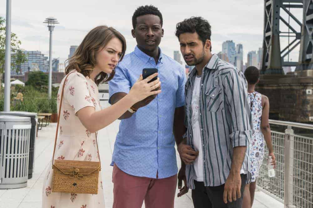 """Heavenly Taco Truck"" -- Miles' wallet is stolen when he, Rakesh and Cara check out a food truck the God Account suggests that he ""like."" But when the account then suggests that he befriend a private investigator, Miles decides to turn the tables and have the PI help him track down the thief, who Miles believes is linked to the account, on GOD FRIENDED ME, Sunday, Oct. 14 (8:30-9:30 PM, ET/8:00-9:00 PM, PT) on the CBS Television Network. Pictured L to R: Violett Beane as Cara Bloom, Brandon Micheal Hall as Miles Finer and Suraj Sharma as Rakesh Singh. Photo Credit: Barbara Nitke/©2018 Warner Bros. Entertainment Inc. All Rights Reserved."