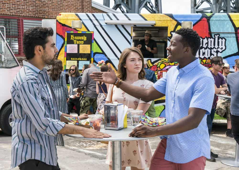 """Heavenly Taco Truck"" -- Miles' wallet is stolen when he, Rakesh and Cara check out a food truck the God Account suggests that he ""like."" But when the account then suggests that he befriend a private investigator, Miles decides to turn the tables and have the PI help him track down the thief, who Miles believes is linked to the account, on GOD FRIENDED ME, Sunday, Oct. 14 (8:30-9:30 PM, ET/8:00-9:00 PM, PT) on the CBS Television Network. Pictured L to R: Suraj Sharma as Rakesh Singh, Violett Beane as Cara Bloom, and  Brandon Micheal Hall as Miles Finer. Photo Credit:  Barbara Nitke/©2018 Warner Bros. Entertainment Inc.  All Rights Reserved."