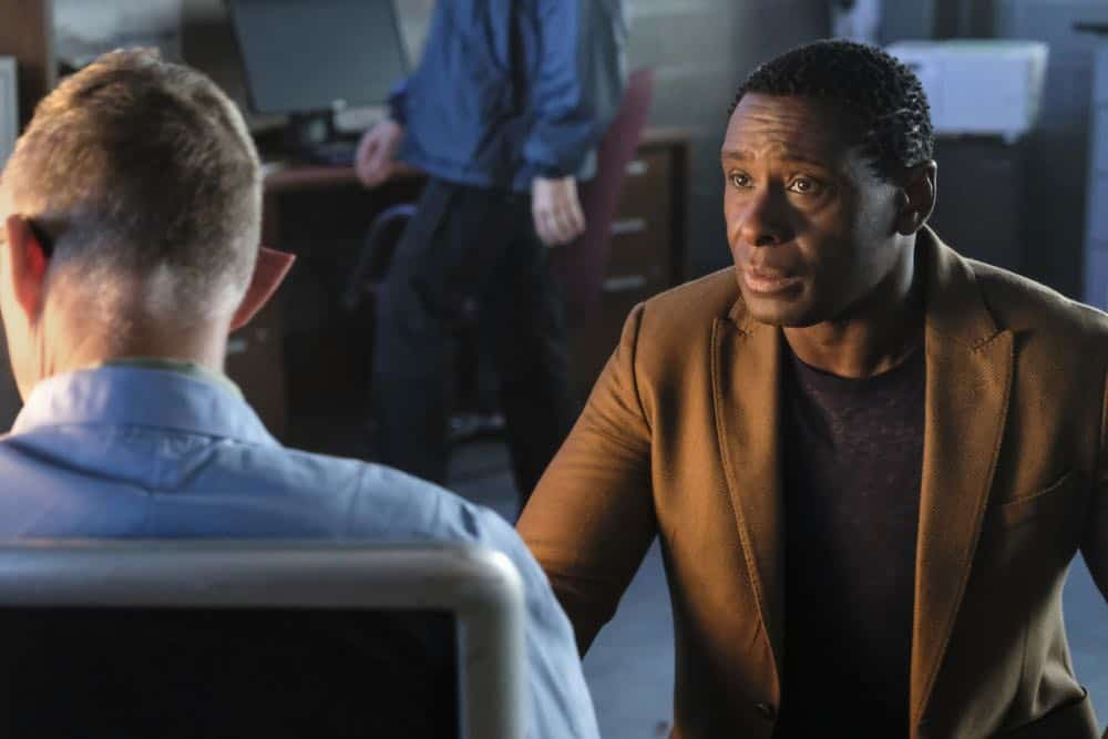 """Supergirl -- """"American Alien"""" -- Image Number: SPG401b_0259b.jpg -- Pictured: Vincent Gale as Dr. Rohan Vose and David Harewood as Hank Henshaw/J'onn J'onzz -- Photo: Bettina Strauss/The CW -- © 2018 The CW Network, LLC. All Rights Reserved."""