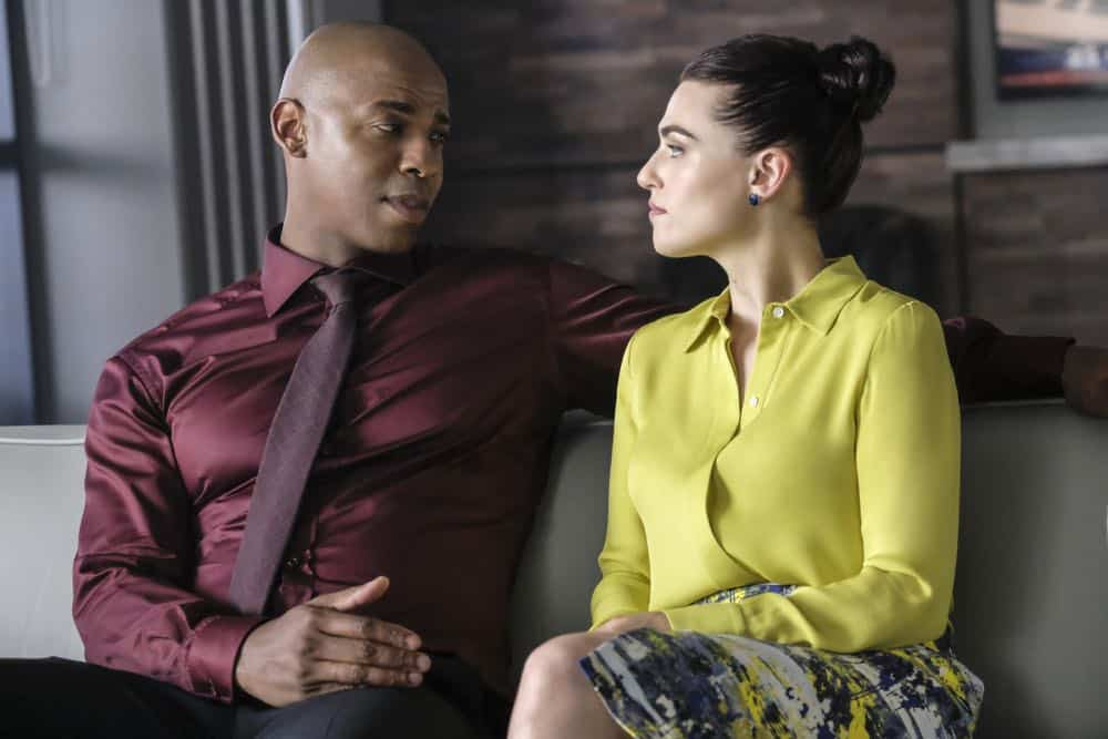 """Supergirl -- """"American Alien"""" -- Image Number: SPG401a_0118b.jpg -- Pictured (L-R): Mehcad Brooks as James Olsen/Guardian and Katie McGrath as Lena Luther -- Photo: Bettina Strauss/The CW -- © 2018 The CW Network, LLC. All Rights Reserved."""