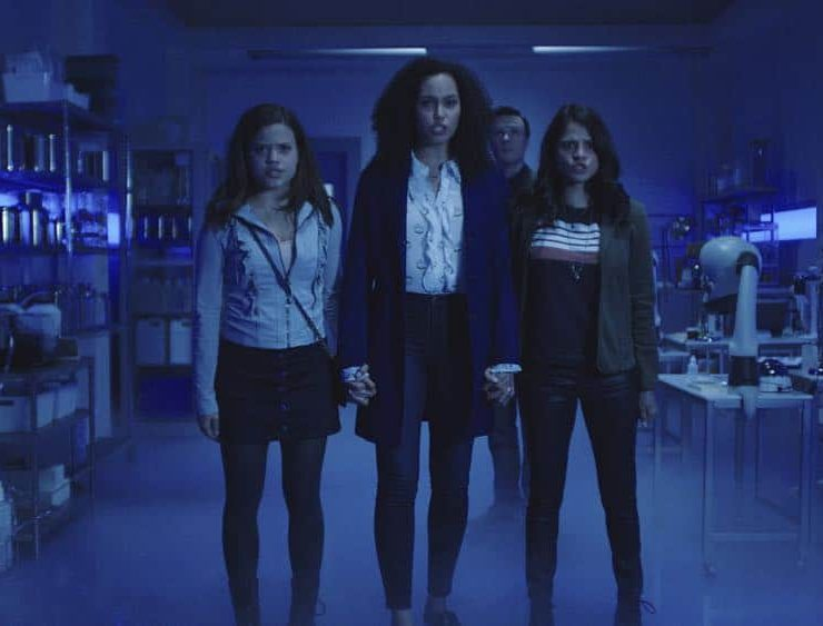 """Charmed -- """"Pilot""""-- Image Number: CMD101g_0002r.jpg -- Pictured (L-R): Sarah Jeffery as Maggie Vera, Madeleine Mantock as Macy Vaughn, Rupert Evans as Harry Greenwood and Melonie Diaz as Mel Vera -- Photo: The CW -- © 2018 The CW Network, LLC. All Rights Reserved"""
