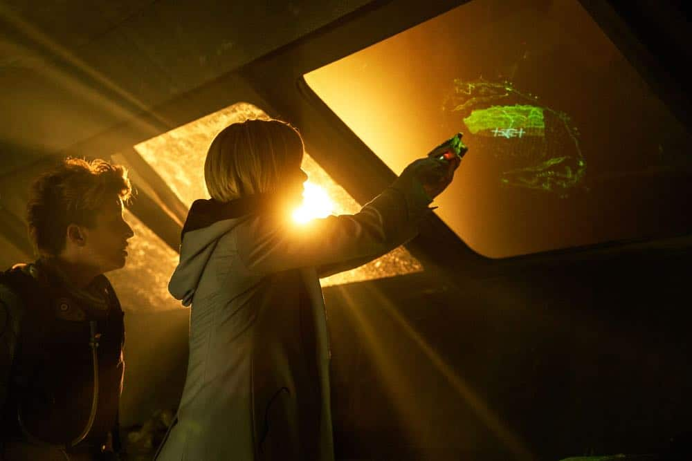 "Picture shows: Angstrom (SUSAN LYNCH), The Doctor (JODIE WHITTAKER). ""The Ghost Monument"" airs Sunday, October 14th at 8/7c on BBC AMERICA."