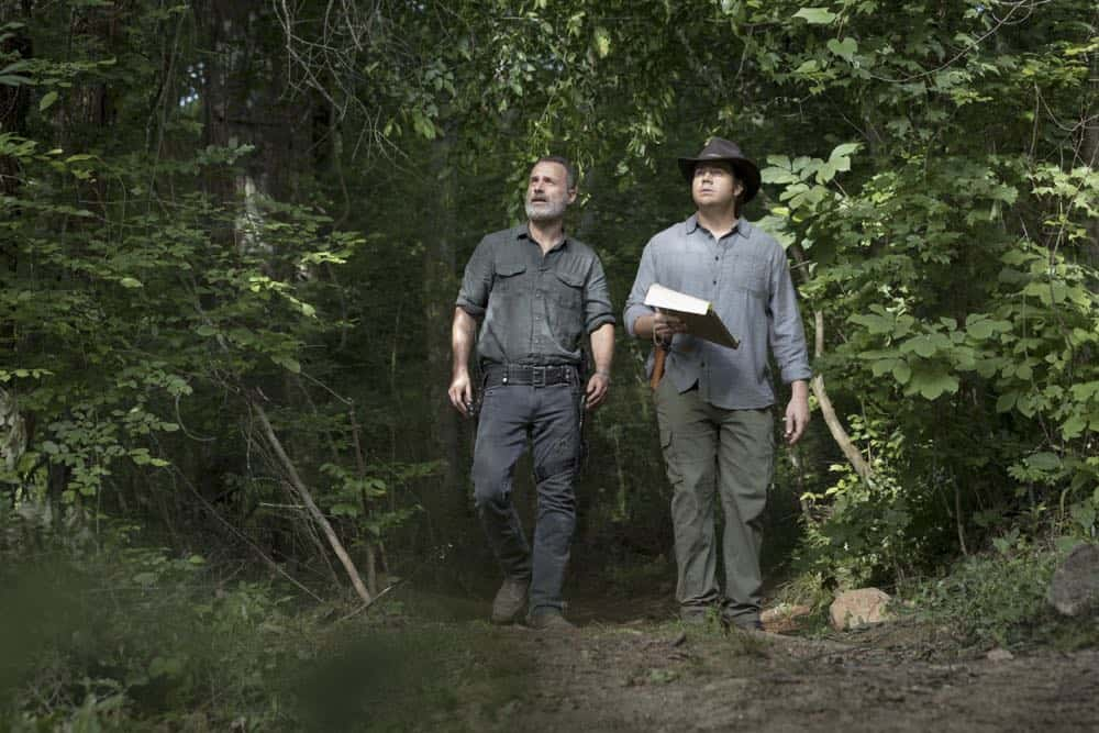 Andrew Lincoln as Rick Grimes, Josh McDermitt as Dr. Eugene Porter- The Walking Dead _ Season 9, Episode 2 - Photo Credit: Jackson Lee Davis/AMC