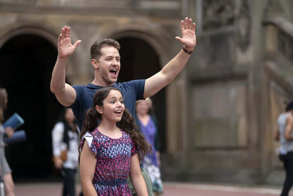 "MANIFEST -- ""Unclaimed Baggage"" Episode 104 -- Pictured: (l-r) Josh Dallas as Ben Stone, Jenna Kurmemaj as ten year-old Olive -- (Photo by: Peter Kramer/NBC/Warner Brothers)"