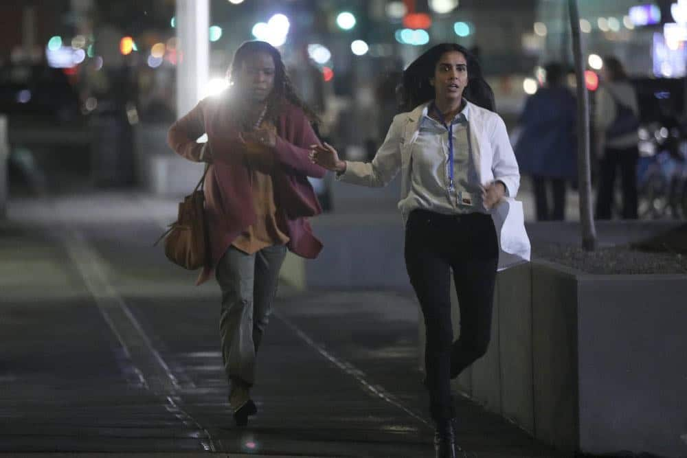 "MANIFEST -- ""Unclaimed Baggage"" Episode 104 -- Pictured: (l-r) Mugga as Bethany, Parveen Kaur as Saanvi Bahl -- (Photo by: Craig Blankenhorn/NBC/Warner Brothers)"
