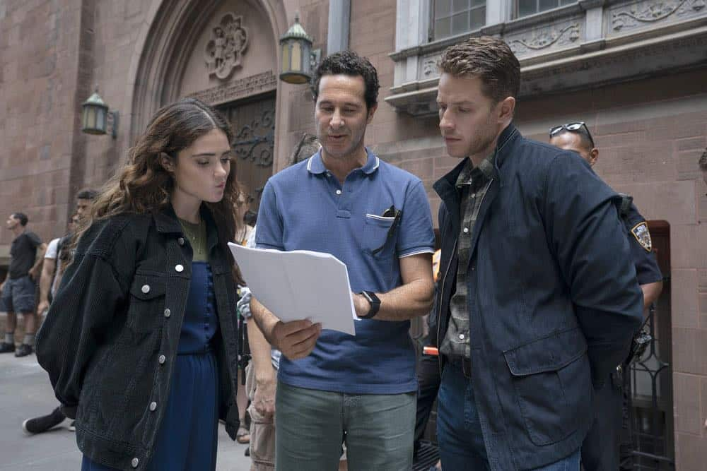 "MANIFEST -- ""Unclaimed Baggage"" Episode 104 -- Pictured: (l-r) Luna Blaise, Director Craig Zisk, Josh Dallas -- (Photo by: Peter Kramer/NBC/Warner Brothers)"
