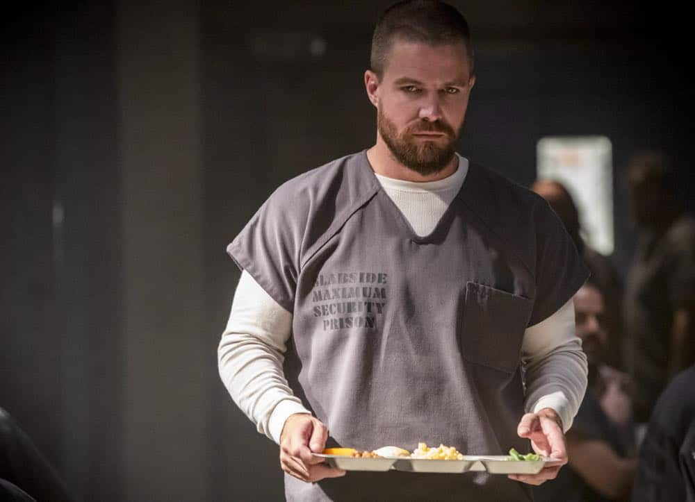 "Arrow -- ""Inmate #4587"" -- Image Number: AR701B_0035b.jpg -- Pictured: Stephen Amell as Oliver Queen/Green Arrow -- Photo: Jack Rowand/The CW -- © The CW Network, LLC. All rights reserved."