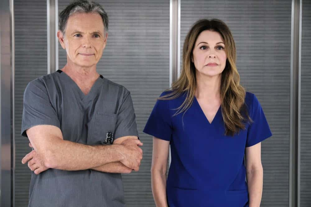 "THE RESIDENT:  L-R:  Bruce Greenwood and Jane Leeves  in the ""About Time"" episode of THE RESIDENT airing Monday, Oct. 15 (8:00-9:00 PM ET/PT) on FOX. ©2018 Fox Broadcasting Co. Cr:  Guy D'AlemaFOX."
