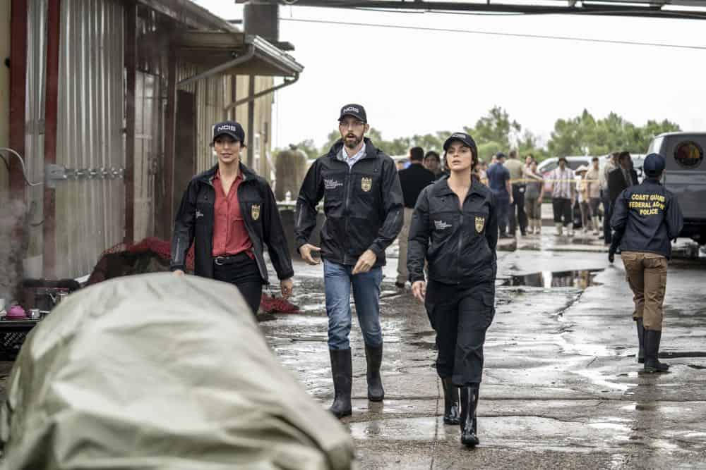 """Legacy"" -- After a petty officer is found murdered under a shrimping boat, the NCIS investigation uncovers a conspiracy in the tight-knit local fishing community. Also, Lasalle awaits the final results of the tax fraud investigation into his familyÕs company, on NCIS: NEW ORLEANS, Tuesday, Oct. 16 (10:00-11:00 PM, ET/PT) on the CBS Television Network. Pictured L-R: Necar Zadegan as Special Agent Hannah Khoury, Rob Kerkovich as Forensic Scientist Sebastian Lund, and Vanessa Ferlito as FBI Special Agent Tammy Gregorio Photo: Skip Bolen/CBS ©2018 CBS Broadcasting, Inc. All Rights Reserved"