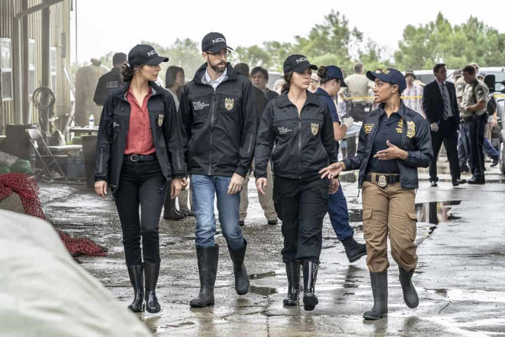"""Legacy"" -- After a petty officer is found murdered under a shrimping boat, the NCIS investigation uncovers a conspiracy in the tight-knit local fishing community. Also, Lasalle awaits the final results of the tax fraud investigation into his familyÕs company, on NCIS: NEW ORLEANS, Tuesday, Oct. 16 (10:00-11:00 PM, ET/PT) on the CBS Television Network. Pictured L-R: Necar Zadegan as Special Agent Hannah Khoury, Rob Kerkovich as Forensic Scientist Sebastian Lund, Vanessa Ferlito as FBI Special Agent Tammy Gregorio, and Angel Henson Smith as CGIS Agent Photo: Skip Bolen/CBS ©2018 CBS Broadcasting, Inc. All Rights Reserved"