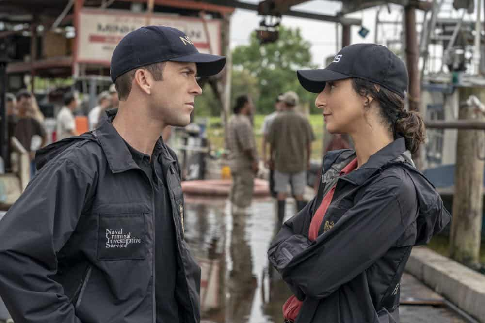 """Legacy"" -- After a petty officer is found murdered under a shrimping boat, the NCIS investigation uncovers a conspiracy in the tight-knit local fishing community. Also, Lasalle awaits the final results of the tax fraud investigation into his familyÕs company, on NCIS: NEW ORLEANS, Tuesday, Oct. 16 (10:00-11:00 PM, ET/PT) on the CBS Television Network. Pictured L-R: Lucas Black as Special Agent Christopher LaSalle and Necar Zadegan as Special Agent Hannah Khoury Photo: Skip Bolen/CBS ©2018 CBS Broadcasting, Inc. All Rights Reserved"