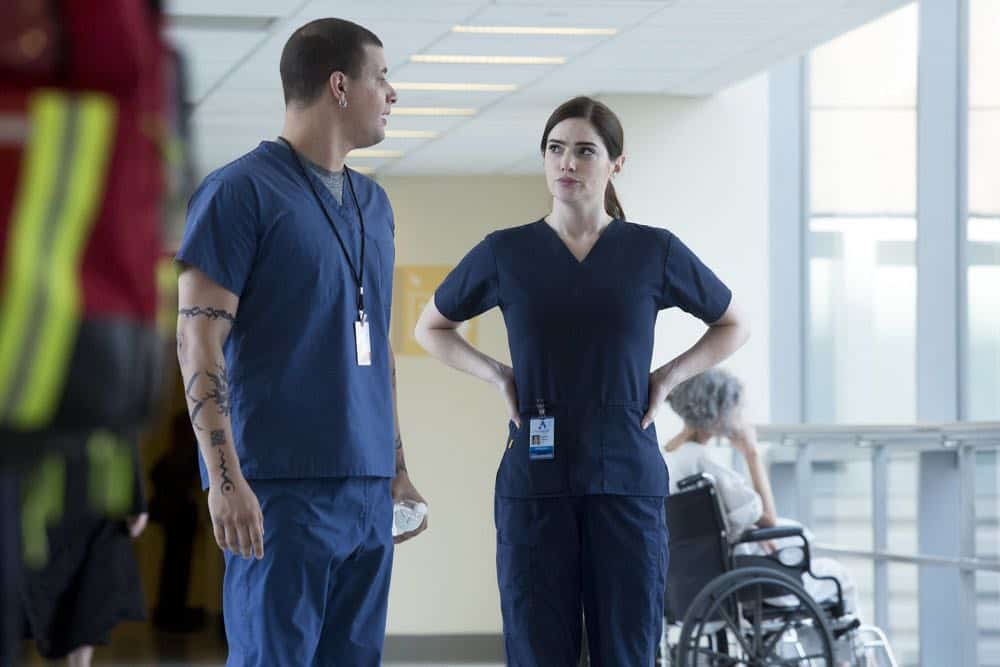 "NEW AMSTERDAM -- ""Boundaries"" Episode 104 -- Pictured: (l-r) Alejandro Hernandez as Casey, Janet Montgomery as Dr. Lauren Bloom -- (Photo by: Francisco Roman/NBC)"
