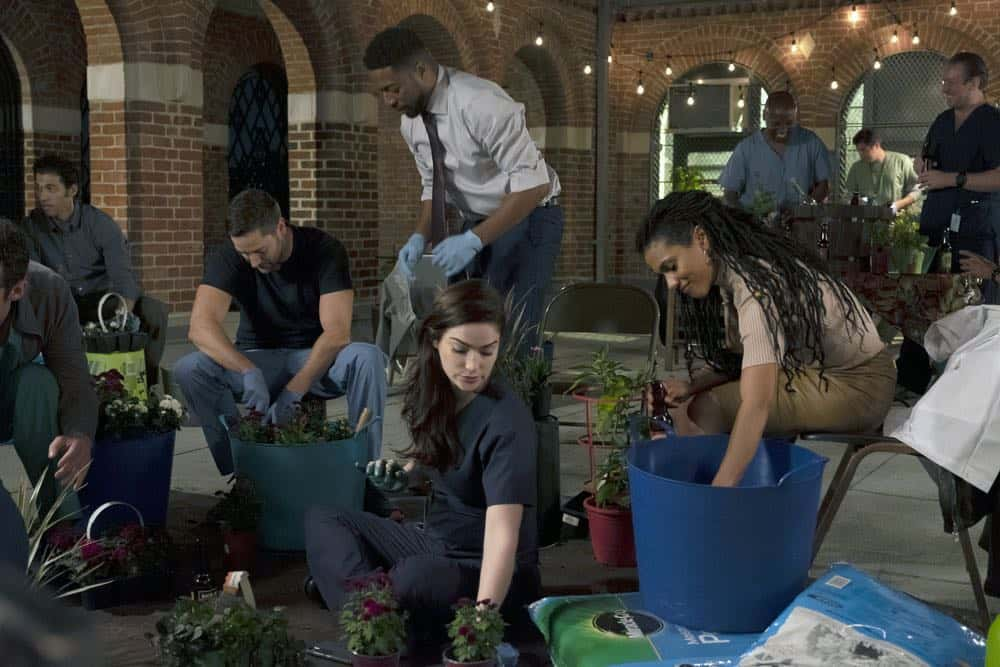 "NEW AMSTERDAM -- ""Boundaries"" Episode 104 -- Pictured: (l-r) Ryan Eggold as Dr. Max Goodwin, Jocko Sims as Dr. Floyd Reynolds, Janet Montgomery as Dr. Lauren Bloom, Freema Agyeman as Dr. Helen Sharpe -- (Photo by: Francisco Roman/NBC)"