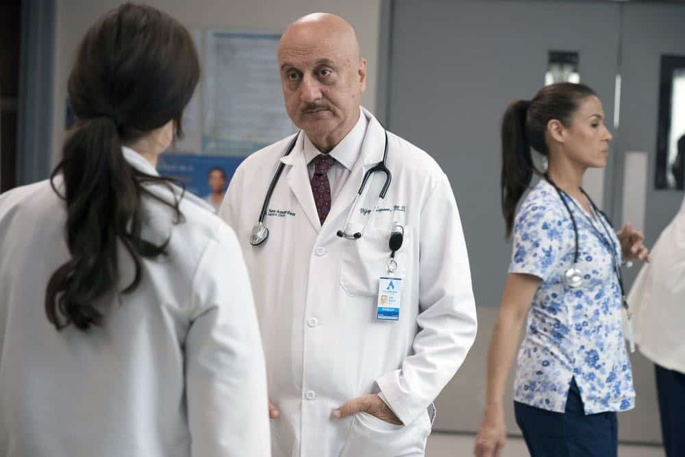 "NEW AMSTERDAM -- ""Boundaries"" Episode 104 -- Pictured: Anupam Kher as Dr. Vijay Kapoor -- (Photo by: Virginia Sherwood/NBC)"