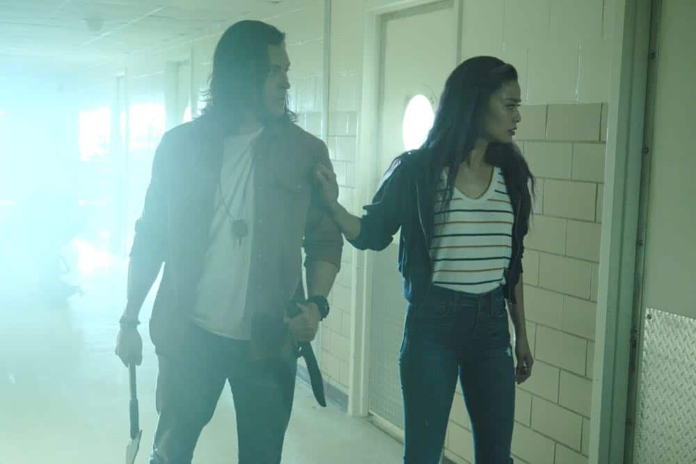 "THE GIFTED:  L-R:  Blair Redford and Jamie Chung in the ""outMatched"" episode of THE GIFTED airing Tuesday, Oct. 16 (8:00-9:00 PM ET/PT) on FOX. ©2018 Fox Broadcasting Co. Cr: Guy D'Alema/FOX."