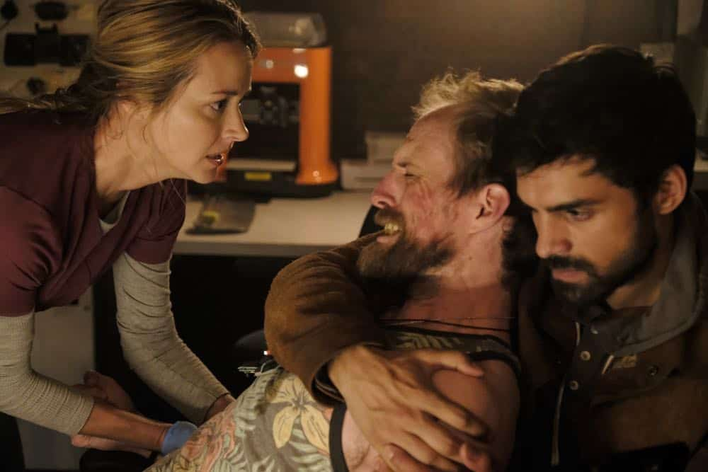 "THE GIFTED:  L-R:  Amy Acker, guest star Adam David Thompson and Sean Teale in the ""outMatched"" episode of THE GIFTED airing Tuesday, Oct. 16 (8:00-9:00 PM ET/PT) on FOX. ©2018 Fox Broadcasting Co. Cr: Guy D'Alema/FOX."